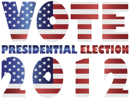 Vote 2012 Presidential Election with American USA Flag Silhouette Illustration
