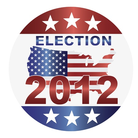 Election 2012 with USA Flag in Map Silhouette Illustration Vector