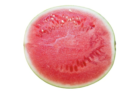 Seedless Watermelon Half Top View Isolated on White Background