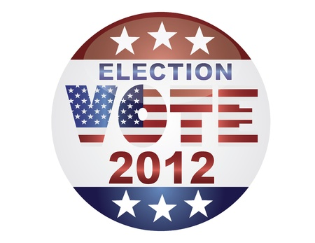 Vote Election 2012 with USA Flag in Text Silhouette Illustration Stock Vector - 15095631
