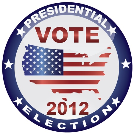 Vote Presidential Election 2012 with USA Flag in Map Silhouette Illustration Vector