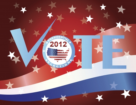 presidential: Vote Check Mark Text 2012 Presidential Election Button Illustration Illustration