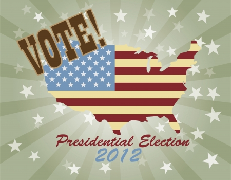 Vote Presidential Election 2012 with USA Flag in Map Silhouette  Retro Illustration Vector