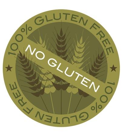 Wheat Grain Stalk with 100  Gluten Free Label Illustration Vettoriali