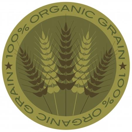 grain: Wheat Grain Stalk with 100  Organic Grain Label Illustration Illustration