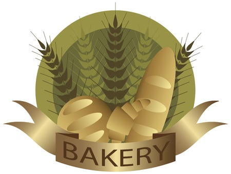 french bakery: Bakery with Wheat Stalks French Bread Loaf and Croissant Pastry Label Illustration