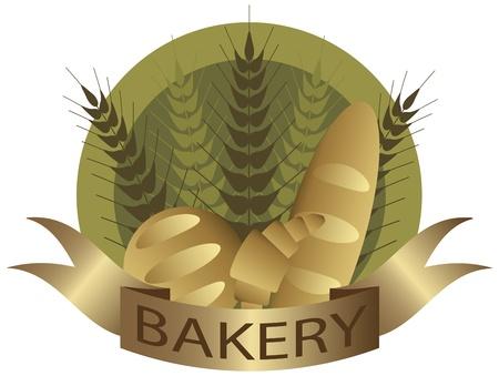 Bakkerij met tarwe Stengels Franse Brood van het brood en croissant Pastry Label Illustratie Stock Illustratie