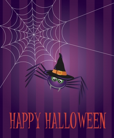 Halloween Spider with Witch Hat and Web Illustration Vector