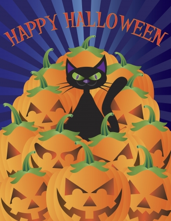 occasions: Halloween Black Cat Sitting on Pile of Pumpkins Jack-O-Lantern Illustration