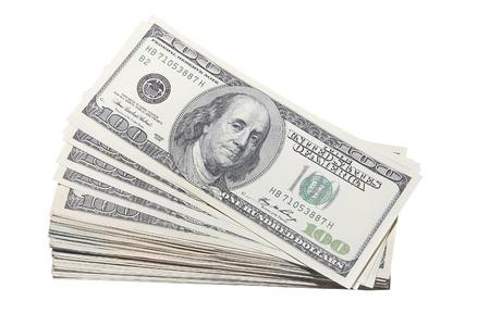 stash: Stash of US One Hundred Dollar Bills Banknotes Isolated on White Background