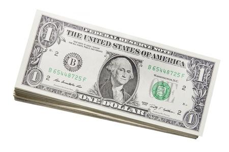 george washington: Pila de billetes de un dólar de EE.UU. La cifra de billetes aislados en fondo blanco