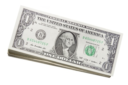one dollar bill: Stack of US One Dollar Bills Banknotes Isolated on White Background