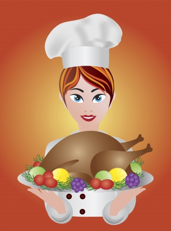 roast dinner: Woman Chef Holding Baked Roast Turkey Dinner Platter Illustration