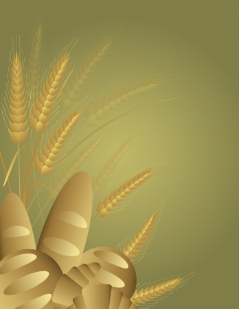 Whole Wheat Grains Breads with Wheat Stalks Background Illustration Vector