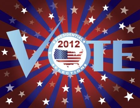 Vote Red White and Blue Stars Stripes Sun Rays Banner Illustration Stock Vector - 15357419