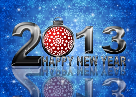 2013 Happy New Year Snowflakes Ornament on Blue Blurred Snow Background photo