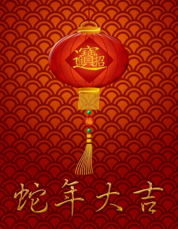 bringing: Chinese Lantern with Text Bringing in Wealth and Treasure and Good Luck in Year of the Snake Illustration