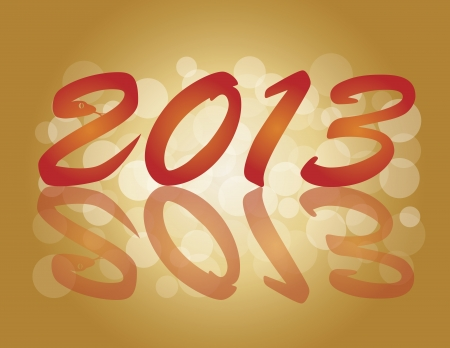 2013 Chinese New Year of the Snake Numbers Calligraphy Blurred Background Illustration Vector