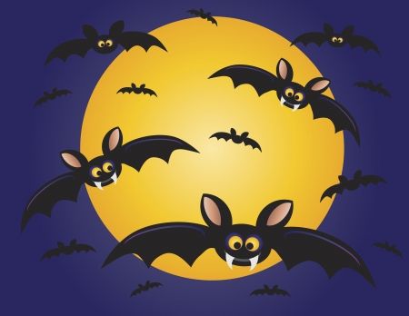 Halloween Flying Bats with Moon Background Illustration Vector