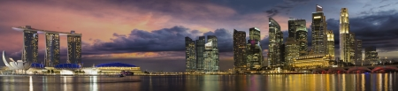 river banks: Singapore Central Business District City Skyline at Sunset Panorama