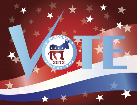 Vote Check Mark Text 2012 Democrat with US Flag Background Stock Vector - 15439603