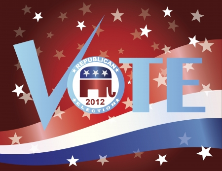 Vote Check Mark Text 2012 Republican with US Flag Background Vector