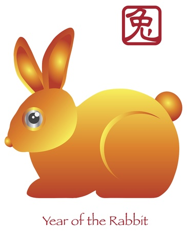 asian bunny: Chinese New Year of the Rabbit Zodiac with Chinese Rabbit Text Illustration Illustration