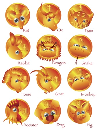 Chinese New Year Zodiac Horoscope Animals with text in Gold Circle Illustration