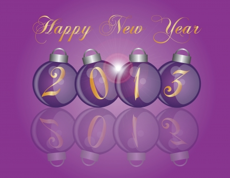 2013 Happy New Year Christmas Purple Ornaments with Reflection Illustration Vector