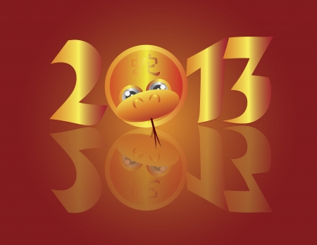 snake calligraphy: Chinese New Year 2013 Snake in Circle with Snake Text Illustration Illustration