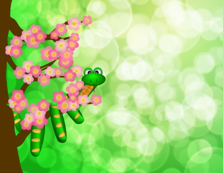 Chinese New Year Green Snake on Cherry Blossom Flowering Tree in Spring with Blurred Bokeh Background Illustration