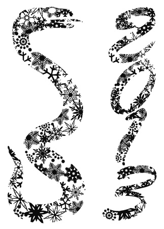2013 Chinese New Year of the Snake Silhouettes with Snowflakes Pattern Background Illustration
