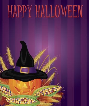 Happy Halloween Pumpkin Carved Jack-O-Lantern with Pilgrim Hat Corn Cob Wheat Straws and Fall Leaves Illustration Vector