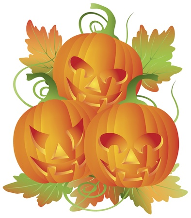 Happy Halloween Trio of Carved Pumpkins with Leaves and Twine Illustration