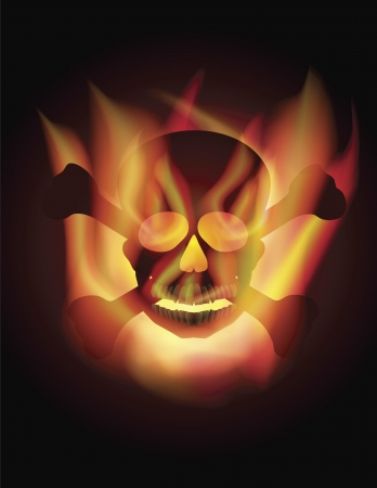 fire skull: Happy Halloween Skull with Cross Bones and Fire Flames Illustration