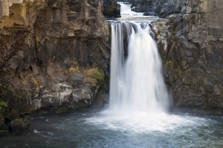 basalt: White River Falls State Park Waterfall in Central Oregon Stock Photo