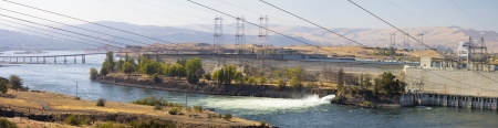 Hydroelectric Power Generator Plant in The Dalles Oregon Along Columbia River Gorge Panorama photo