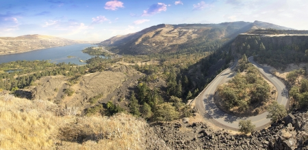 northwest: Old Columbia Highway and Columbia River Gorge at Rowena Crest Oregon Panorama Stock Photo