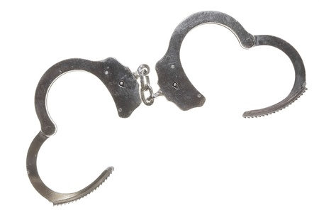Open Metal Handcuffs Isolated on White Background Stock Photo - 15717019