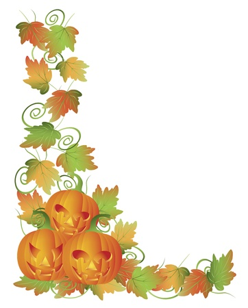 fall harvest: Happy Halloween Trio of Carved Pumpkins with Leaves and Twine Border Illustration