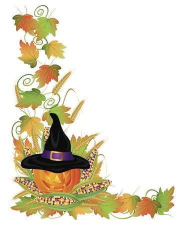 carved pumpkin: Happy Halloween Carved Pumpkin Jack-O-Lantern Scarecrow with Leaves and Twine Border Illustration Illustration