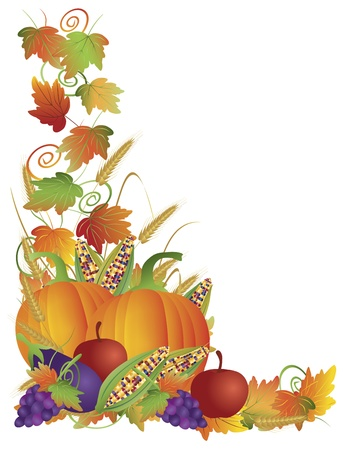 border cartoon: Thanksgiving Day Fall Harvest Pumpkin Eggplant Grapes Corns Apples with Leaves and Twine Border Illustration Illustration