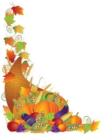 cornucopia: Thanksgiving Day Fall Harvest Cornucopia Pumpkin Eggplant Grapes Corns Apples with Leaves and Twine Border Illustration