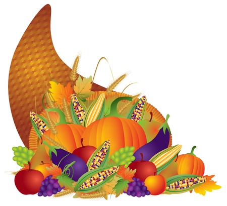cornucopia: Thanksgiving Day Fall Harvest Cornucopia with Pumpkins eggplants apples grapes wheat grain corns fruits vegetables illustration