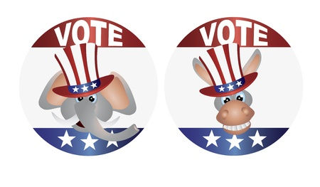 senate: Vote Republican Elephant and Democrat Donkey with Uncle Sam Hat Buttons Illustration