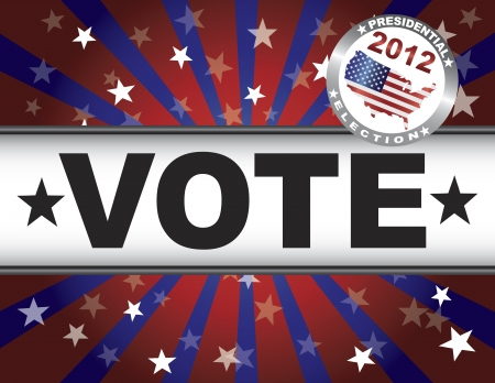 Vote Presidential Election 2012 Red White and Blue Stars Stripes Sun Rays Banner Illustration