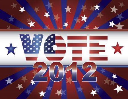 estados unidos bandera: Votar Elecciones Presidenciales 2012 Red White and Blue Stars Stripes Sun Rays Ilustraci�n Flag Banner EE.UU.