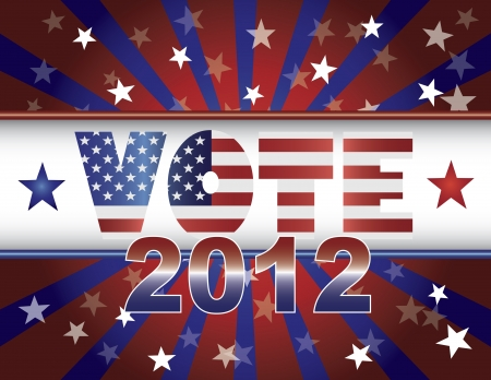 presidential election: Vote Presidential Election 2012 Red White and Blue Stars Stripes Sun Rays US Flag Banner Illustration