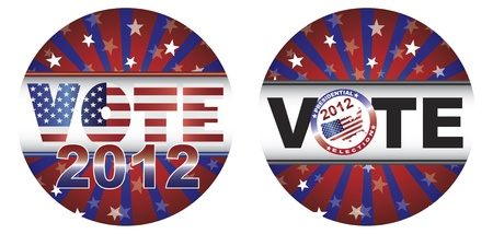 presidential election: Vote 2012 Presidential Election Buttons with Stars and Stripes Sunburst Illustration Illustration