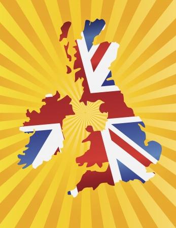 Reino Unido Gran Bretaña Union Jack Flag in Silhouette mapa con la ilustración del fondo dom Rays Foto de archivo - 15821420